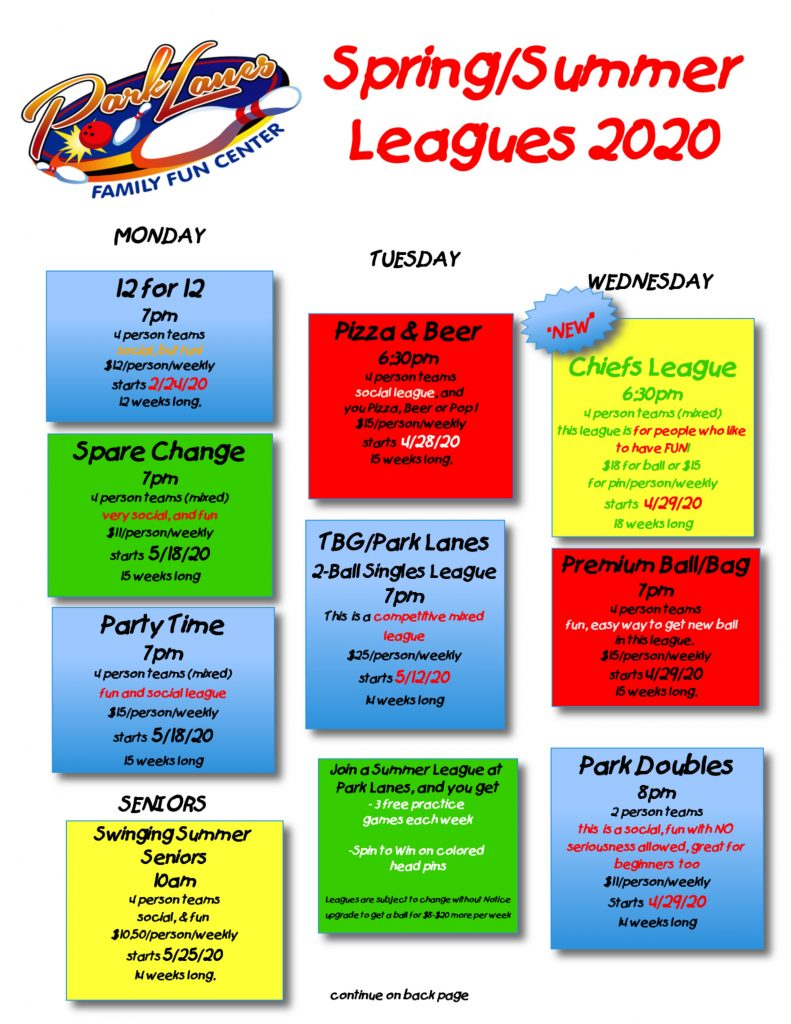 Spring 2020 Leagues